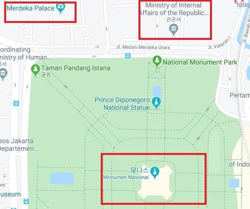 3일 모나스 광장과 대통령궁, 내무부 위치.jpg